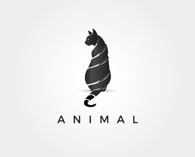 Minimalna ilustracja szablonu logo kota