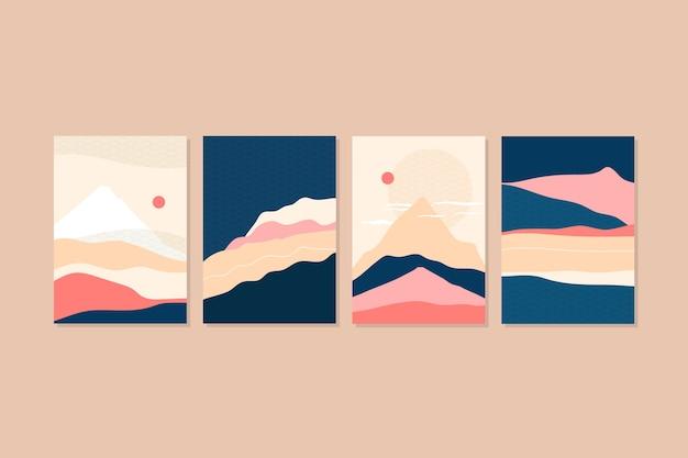 Minimalna japońska koncepcja kolekcji okładek