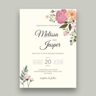Minimalna karta kwiatowy ślub
