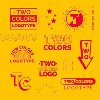 Minimalna kolekcja elementów logo w kolorze czerwonym i żółtym