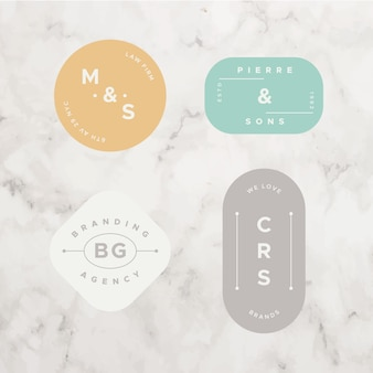 Minimalna kolekcja logo na tle marmuru