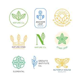 Minimalna kolekcja logo naturalnego biznesu