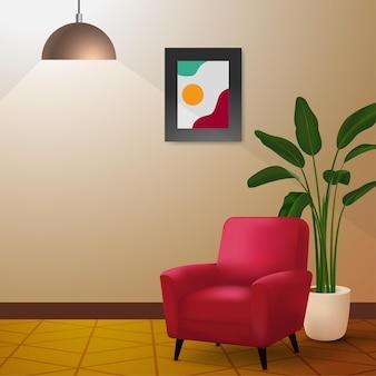 Minimalna konfiguracja wnętrza z nowoczesną czerwoną ilustracją krzesła