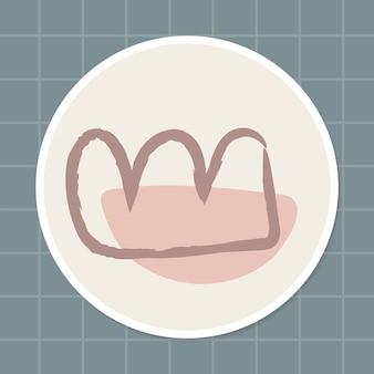 Minimalna korona doodle społeczna historia wyróżnienia naklejki wektor