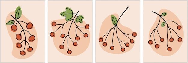 Minimalna kwiatowa linia i kolorowa grafika z jagodami