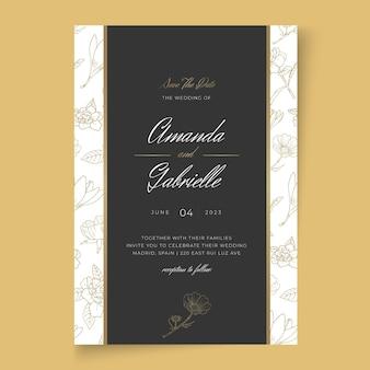 Minimalna kwiecista karta ślubna
