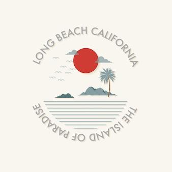 Minimalna lato wibruje plażową ilustrację. projekt koszulki, ubrania, mody, tkaniny, tkaniny.