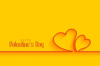 Minimalna linia serca kształty na żółtym tle