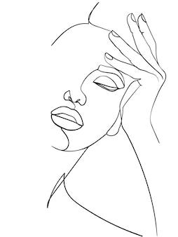 Minimalna linia sztuki kobieta z ręką na twarzy. rysowanie czarnych linii. -ilustracja wektorowa