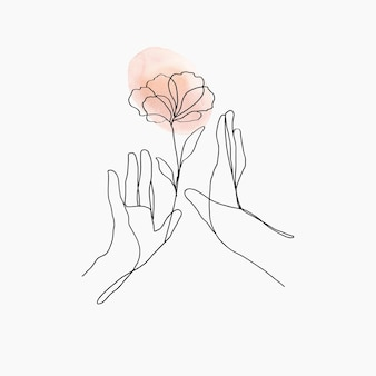 Minimalna linia sztuki ręce wektor kwiatowy pomarańczowy pastelowy estetyczna ilustracja