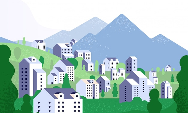Minimalna panorama miasta. natura krajobraz z nowoczesnymi budynkami. ulica miasta w letnim otoczeniu. tło w minimalistycznym stylu