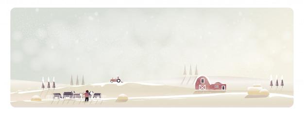 Minimalna panorama wektorowa ilustracja wieś krajobraz w zimie