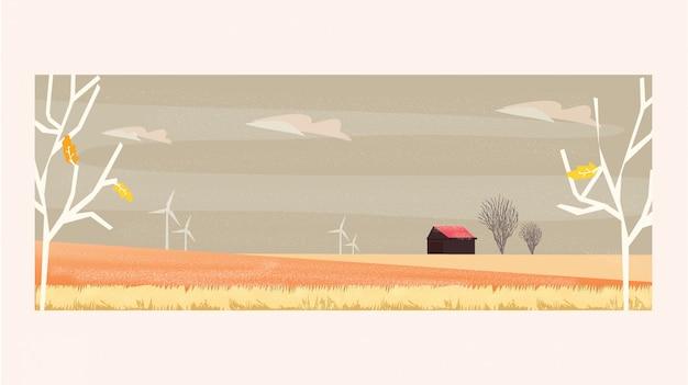 Minimalna panoramy ilustracja wsi krajobraz w jesieni z gospodarstwem rolnym
