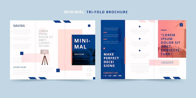 Minimalna potrójna broszura dotycząca mebli domowych