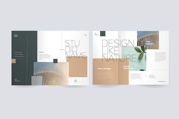 Minimalna potrójna broszura z wizerunkiem