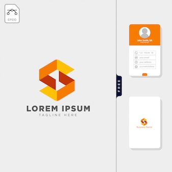 Minimalna s początkowe logo szablon wolny projekt wizytówki
