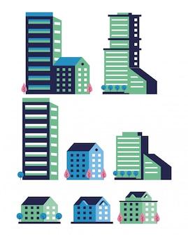 Minimalna scena miasto zestaw ikon
