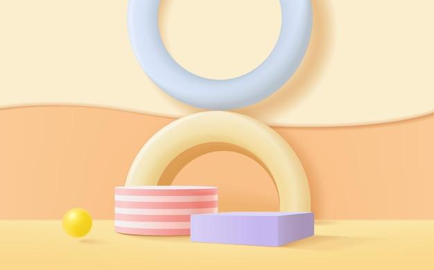 Minimalna scena podium renderowania 3d dla dzieci lub produktu dla niemowląt z pastelowym tłem.