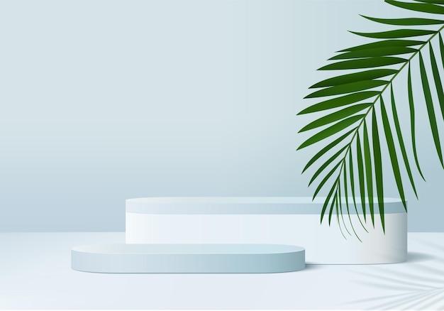 Minimalna scena produktu z wyświetlaczem 3d z geometrycznym cylindrem platformy podium w kształcie liścia