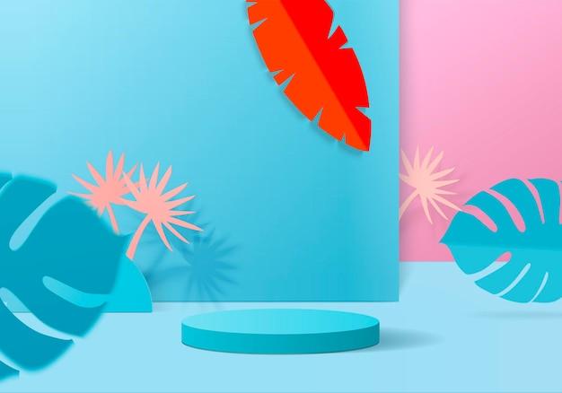 Minimalna scena w tle cylindra z platformą liści. renderowania tła lato z podium. stoisko do pokazania produktów kosmetycznych. prezentacja na scenie na podium nowoczesny studyjny błękit i różowy pastel