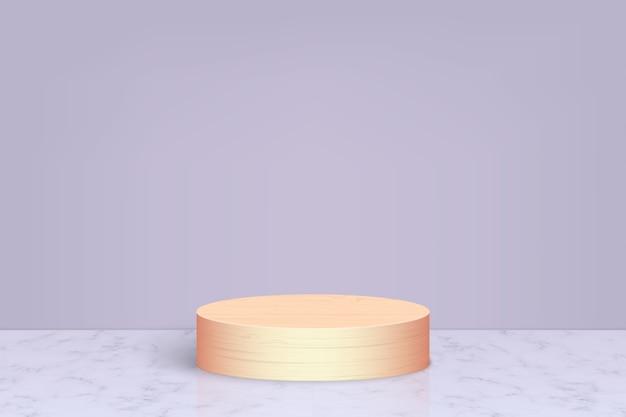 Minimalna scena z drewnianym podium, tło prezentacji produktów kosmetycznych