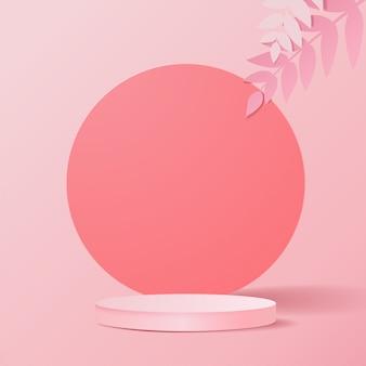 Minimalna scena z geometrycznymi formami. cylindryczne podium w różowym tle z liśćmi. scena pokazująca produkt kosmetyczny, prezentacja, witryna sklepowa, gablota. 3d ilustracji.