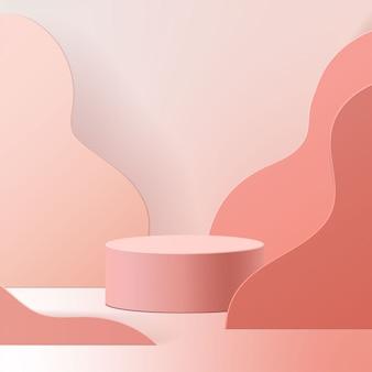 Minimalna scena z geometrycznymi formami. podium butli w różowym tle. scena pokazująca produkt kosmetyczny, prezentacja, witryna sklepowa, gablota. 3d ilustracji.