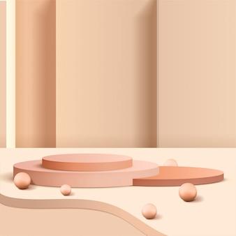Minimalna scena z geometrycznymi formami. podium cylindryczne z okrągłą kulą lub piłką 3d. scena pokazująca produkt kosmetyczny, prezentacja, witryna sklepowa, gablota. 3d ilustracji.