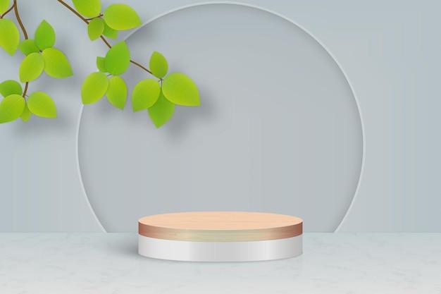 Minimalna scena z podium i liśćmi, tło prezentacji produktu kosmetycznego