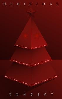 Minimalna sosna wesołych świąt na czerwonym tle dla karty z pozdrowieniami, mailing, plakat i elementy nowego roku. .