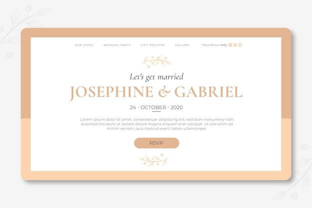 Minimalna strona docelowa ślubu