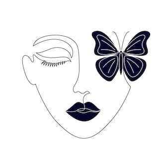 Minimalna twarz kobiety na białym tle. jeden styl rysowania linii.