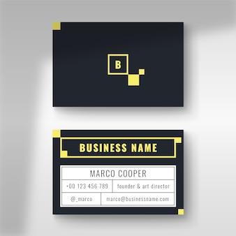 Minimalna wizytówka z niebieskim i żółtym