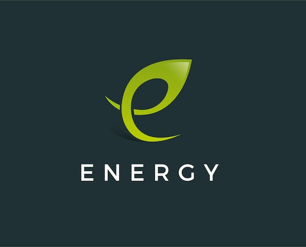 Minimalna zielona litera e logo szablon