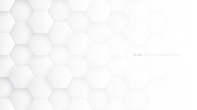 Minimalne białe sześciokątne wzór technologia streszczenie tło
