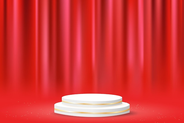 Minimalne geometryczne podium z czerwoną zasłoną