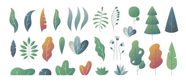Minimalne liście. fantazyjna gradacja kolorów, szablony liści krzewów i drzew, rośliny gradientu natury. słodkie jesienne liście
