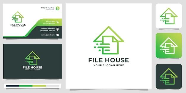 Minimalne logo pliku połączone z kreatywnym szablonem projektu domu. projektowanie logo i wizytówek