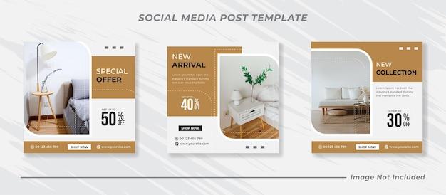 Minimalne meble w mediach społecznościowych i szablon postu na instagramie