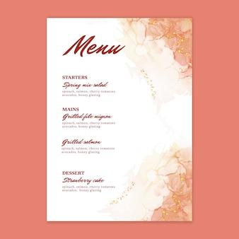 Minimalne menu weselne w akwareli