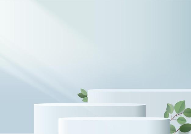 Minimalne niebieskie podium i scena z renderowaniem 3d