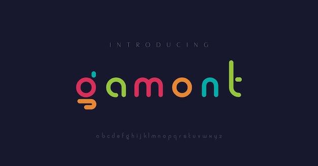 Minimalne nowoczesne czcionki alfabetu typografia minimalistyczna miejska cyfrowa moda przyszłość kreatywna czcionka logo logo