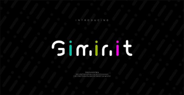 Minimalne nowoczesne czcionki alfabetu. typografia minimalistyczna miejska cyfrowa modna przyszłość kreatywna czcionka logo