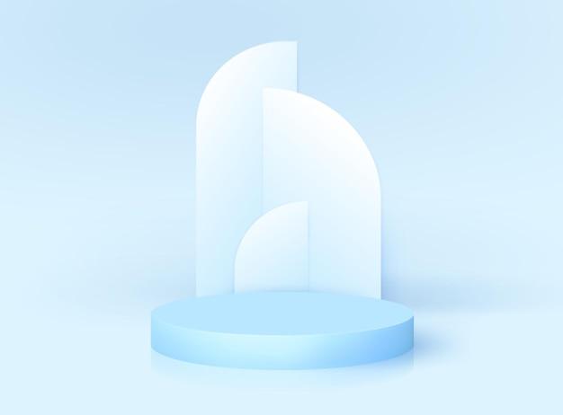 Minimalne nowoczesne podium 3d z łukiem w stylu art deco. wektorowa platforma na cokole do wyświetlania produktów kosmetycznych, studio mody. makieta stoiska z nagrodami nominacji, realistyczny projekt renderowania sceny. geometryczna pusta scena