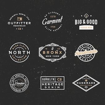 Minimalne odznaki retro sprzedaż i zniżki, etykiety odzieżowe