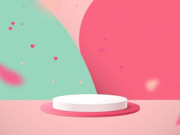 Minimalne podium ze spadającym konfetti serca.