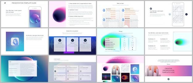 Minimalne prezentacje, szablony portfolio z kolorowymi rozmytymi gradientami i geometryczny wzór