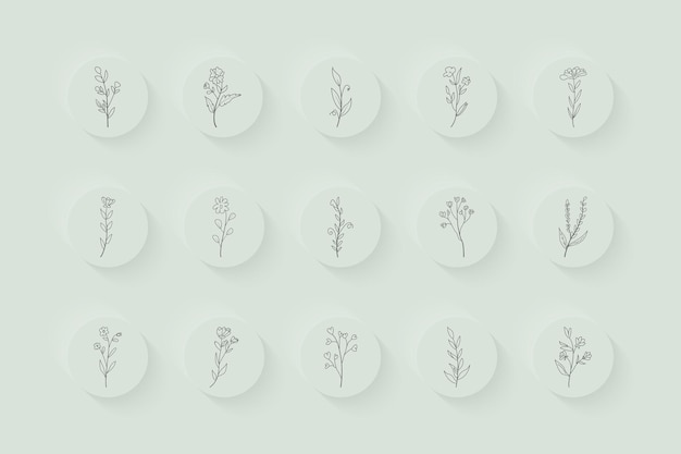 Minimalne, ręcznie rysowane instagramowe historie kwiatowe