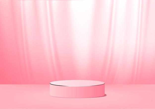 Minimalne różowe podium i scena z renderowaniem 3d w abstrakcyjnej kompozycji tła, ilustracja 3d makiety kształtów platform kształtów sceny do wyświetlania produktów. etap dla produktu w nowoczesnym.