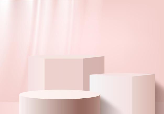 Minimalne różowe podium i scena z renderowaniem 3d w abstrakcyjnej kompozycji tła, ilustracja 3d makiety kształtów platform kształtów sceny do wyświetlania produktów. etap.